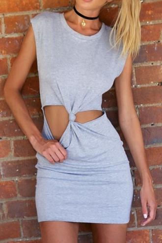 dress zaful grey grey dress tie dress short dress t-shirt dress