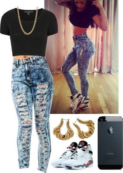 pants crop tops shirt skinny jeans ripped jeans black jewels high waist pants jordans iphone 5s acid wash gold earrings gold skinny chain half shirt