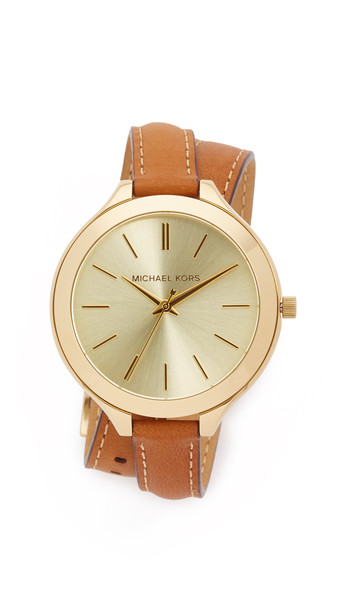 Michael Kors Slim Double Wrap Watch - Gold/Brown