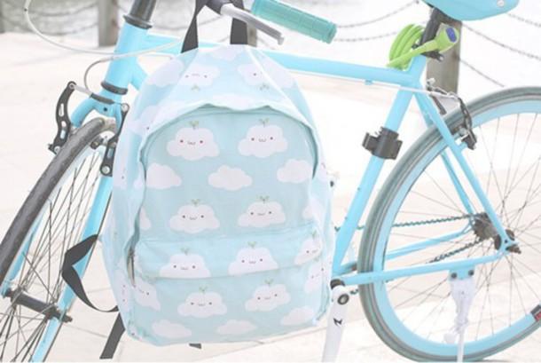 bag kawaii blue clouds bike pastel kawaii bag pastel bag clouds cute backpack fashion style back to school