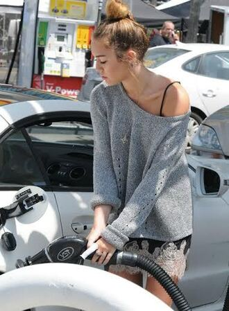 miley cyrus dress lace off the shoulder sweater