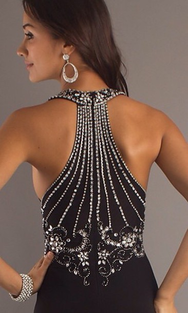 dress black designer gown beaded dress formal prom detail