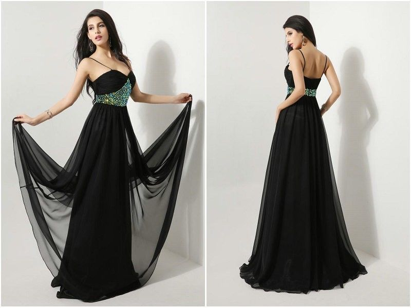 Black Chiffon Rhinestones Strap 2014 Long Prom Gown Evening Party Dress Pageant