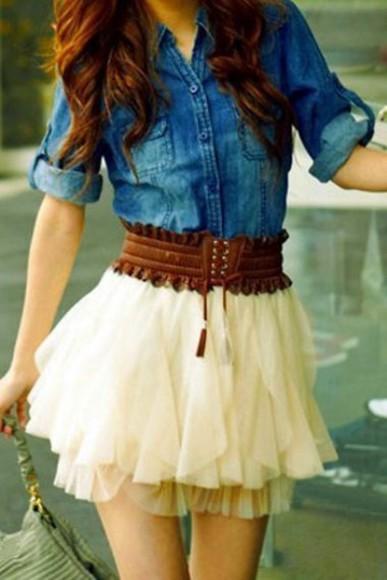 white skirt skirt white ruffles white ruffles Belt country denim shirt brown belt denim jacket boho hipster tulle tulle skirt blouse outfit jacket dress