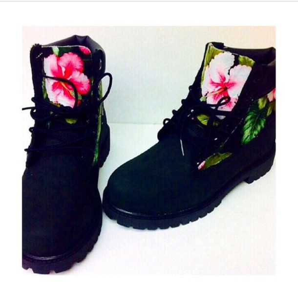 shoes flowers flowerly black timberlands timberland