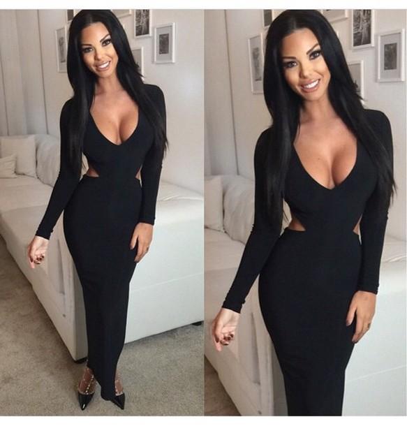 dress black heels black dress high heels heels shoes long dress make-up outfit long sleeves long sleeve dress