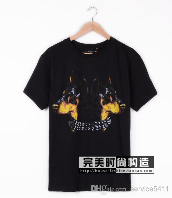 Buy newest 2013 brand giv men's short sleeve designer double doberman dog medusa t