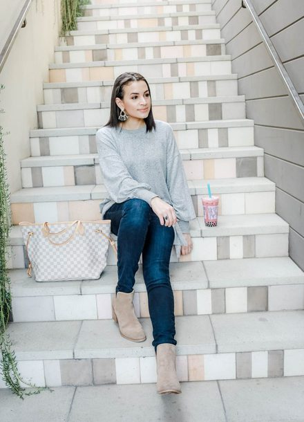 hashtagfablife blogger sweater jeans shoes jewels grey sweater winter outfits ankle boots louis vuitton bag