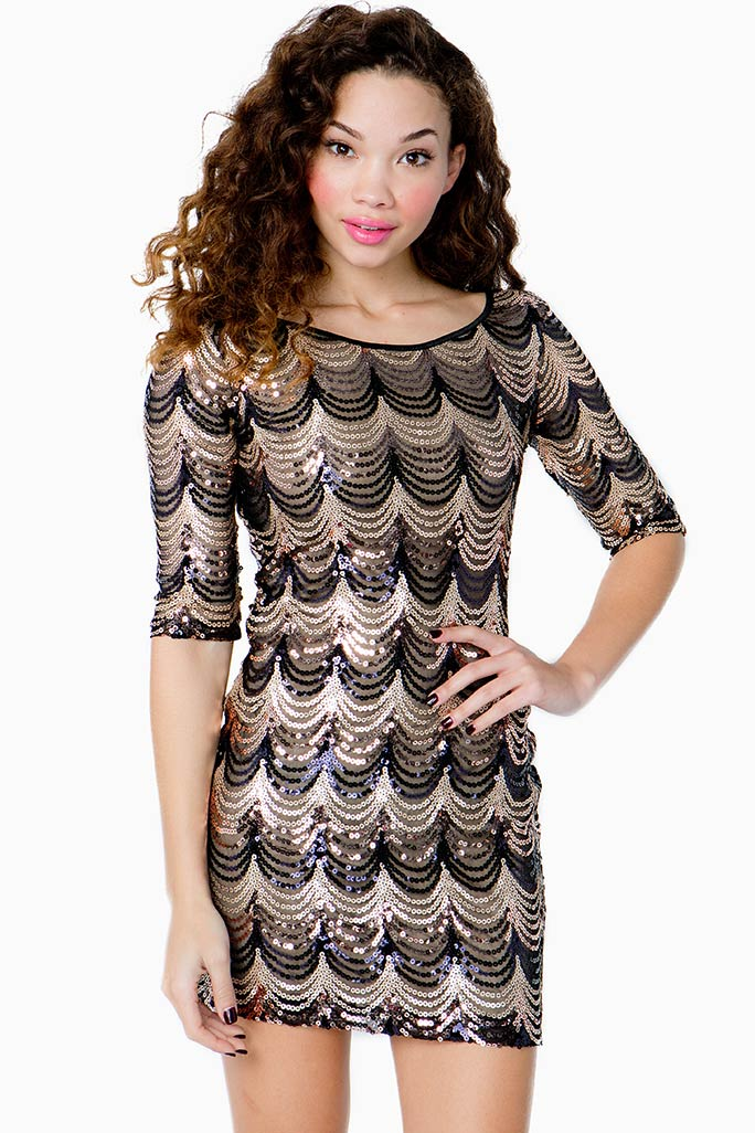 A'GACI Glitzy Sequined Bodycon Dress - DRESSES