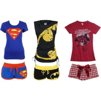 t-shirt superman batman pajamas shorts spider-man