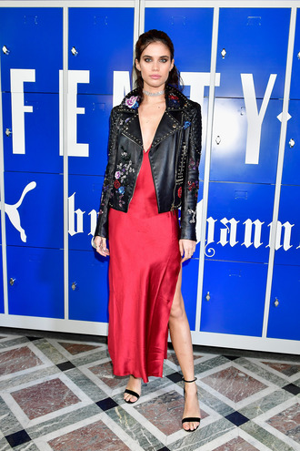 dress sara sampaio model red dress jacket sandals paris fashion week 2017 fashion week 2017 slit dress camisole