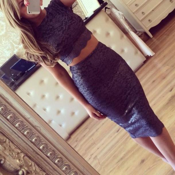 bodycon crop top and pencil skirt dress skirt chanel dress shirt