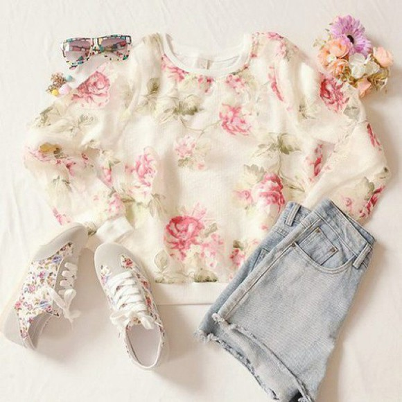 amazing sweater white trend trendy rose green flowers pullover blogger outfit
