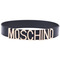 "Romwe | ""moschino"" embellished black belt, the latest street fashion"