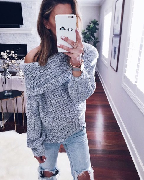Sweater: tumblr, grey sweater, off the shoulder sweater, off the ...