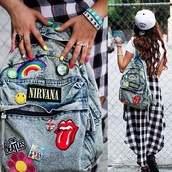 bag,nirvana,grunge,skirt,band merch,denim backpack,ounk,backpack,denim,patch,the rolling stones