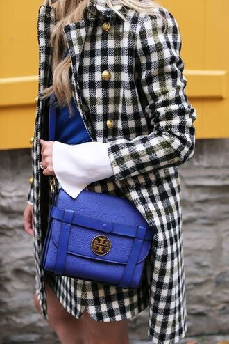 coat tumblr checkered printed coat matching set mini skirt black and white bag blue bag tory burch