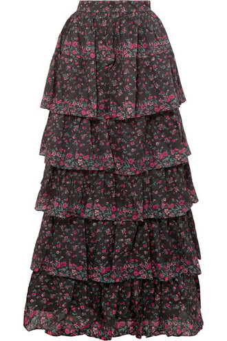 skirt maxi skirt maxi floral cotton print black
