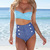 New Retro Swimwear High Waisted Denim Bottoms Padded Bustier Top Bikini Set | eBay