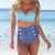 New Retro Swimwear High Waisted Denim Bottoms Padded Bustier Top Bikini Set | eBay