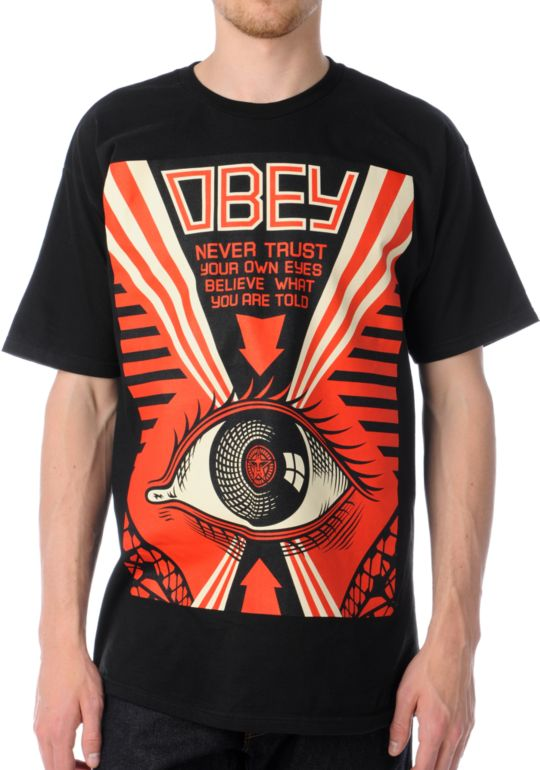 Obey Never Trust Your Own Eyes Black Tee Shirt At Zumiez Pdp