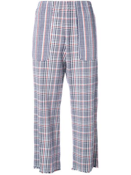 Raquel Allegra cropped women cotton blue silk tartan pants