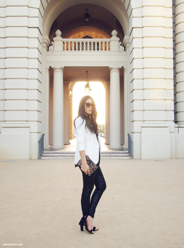 andy heart jacket pants bag sunglasses blouse shoes