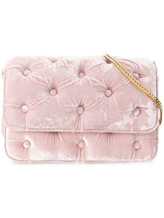 women bag shoulder bag velvet purple pink