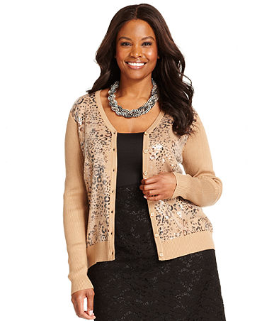 Club Plus Size Sweater, Long-Sleeve Sequin Cardigan - Plus Sizes ...