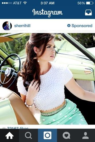 shirt polka dots cute elegance blue skirt sherrihill 2014 pearls puff ball white crop tops