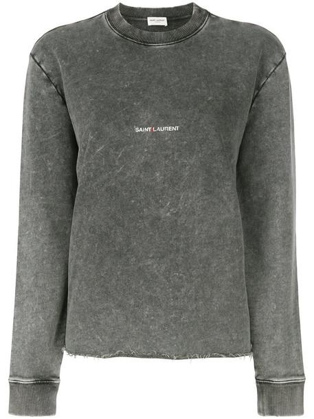 Saint Laurent sweatshirt women cotton grey sweater