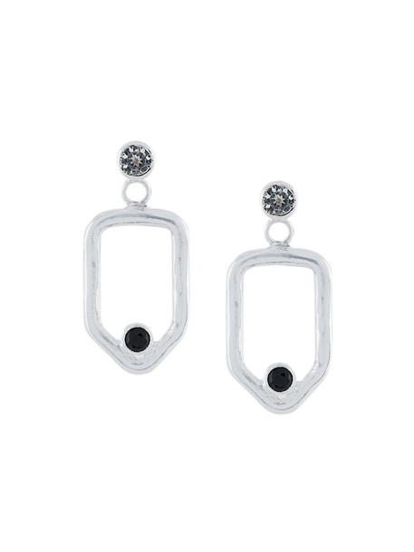 Maya Magal women earrings silver grey metallic jewels