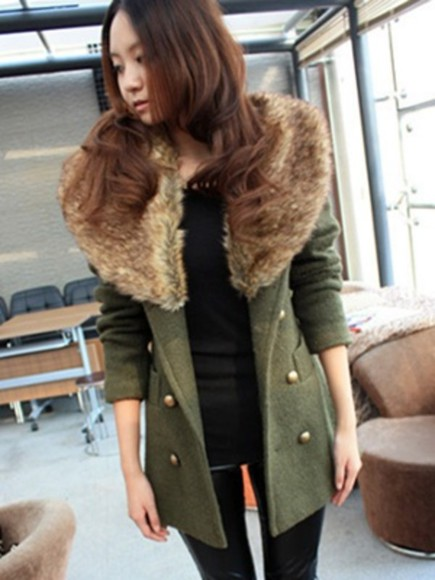 green coat collar