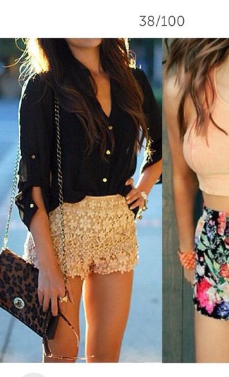 shorts gold gold sequins black