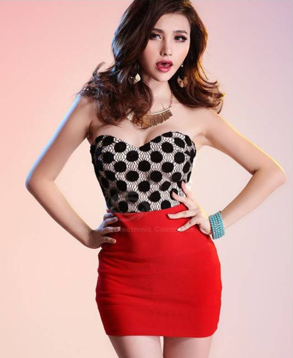 alluring strapless polka dots voile splice slim club dress