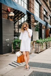 see anna jane,blogger,sunglasses,bag,shoes,shirt,shorts,white dress,mini dress,long sleeve dress,sandals,sandal heels,summer outfits