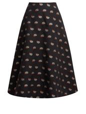 skirt,midi skirt,midi,floral,cotton,black