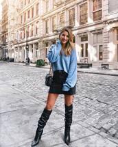 sweater,tumblr,v neck,blue sweater,skirt,mini skirt,black skirt,boots,black boots,slouchy boots,bag,oversized sweater