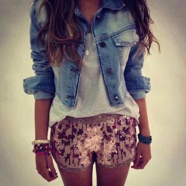 shorts jacket Sequin shorts denim jacket mini shorts