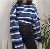 sweater,blue stripes neck,neck,blue,stripes