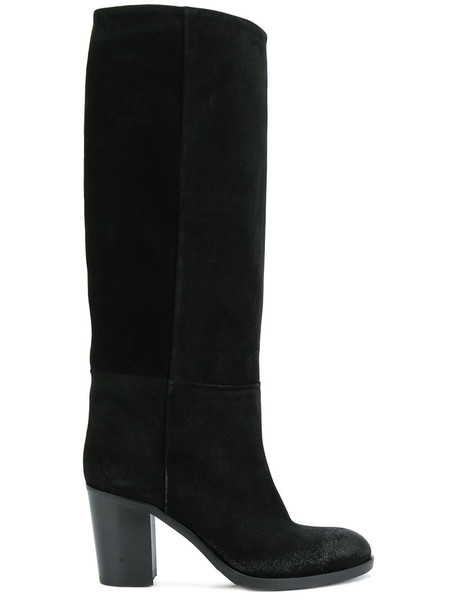 STRATEGIA women boots leather suede black shoes