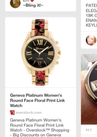 watch black floral reloj wrist accessory jewel cute casual gold silver