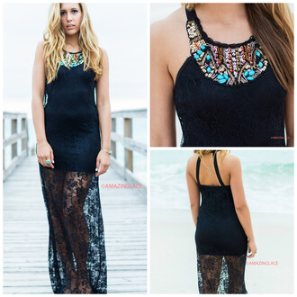 dress black maxi maxi dress amazinglace lace lace overlay beach pretty elegant sequins stones embellished