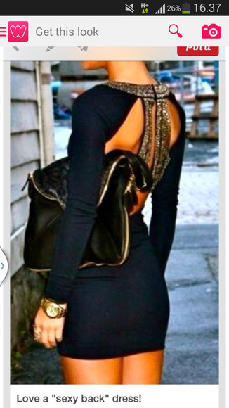 dress navy navy dress homecoming dress Open back dress tight dress fitted dress clothes black classy fashion