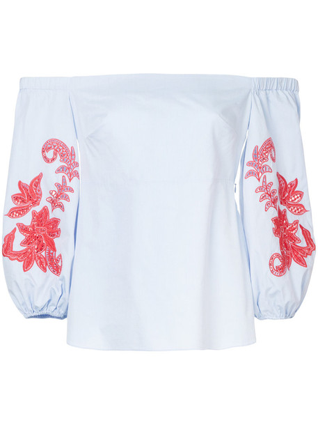 TANYA TAYLOR blouse embroidered off the shoulder women cotton blue top