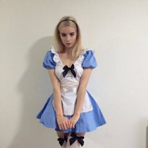 Dress: alice, lolita, tumblr, blue, short, short dress ...