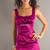 Satin Square Neck Pleats Column Fuchsia Elastic -like Prom Dress - Promdresshouse.com