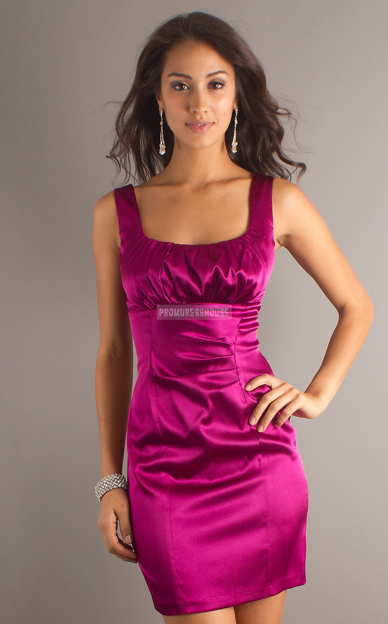Satin Square Neck Pleats Column Fuchsia Elastic -like Prom Dress - Promdresshouse.com