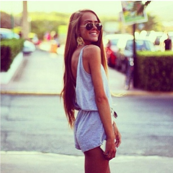 dress backless jumpsuit grey onesie romper shorts romper greay playsuit sunglasses aviator sunglasses smile long hair tan bronze grey summer body suit summer summer outfits outfit tumblr girl blouse cardigan jewels suit lovely where did you get it kristine ull jeans leggings earrings cute fashion clothes tumblr style hot summer dress casual romper top