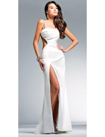Einfache Bodenlang Carmen Ausschnitt Satin Weißes Kleid